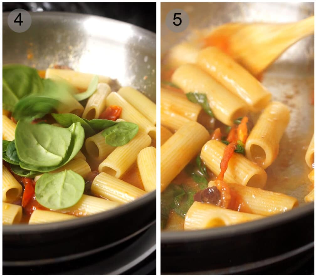 Step by step photos on how to make spinach penne pasta (#4-5)